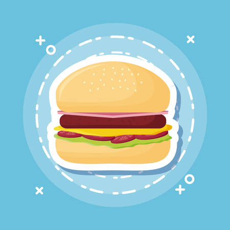 hamburger icon over blue background, colorful design. vector illustration Çizim