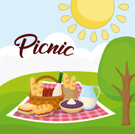 Landscape with picnic blanket with food, colorful design.