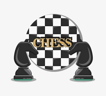 chess game design with knight pieces over white background, colorful design. vector illustration