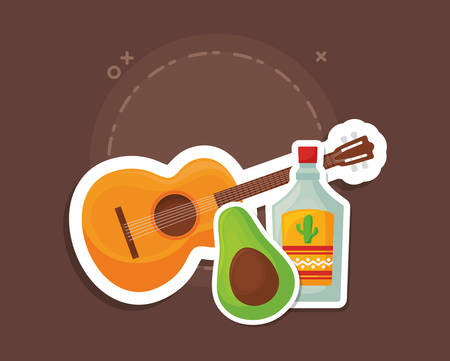 guitar with tequila bottle and avocado over brown background, colorful design. vector illustration