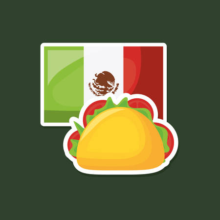 Mexican flag and taco over dark background, colorful design. Illustration
