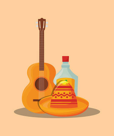 Mexican hat with guitar and tequila bottle over orange background, colorful design.