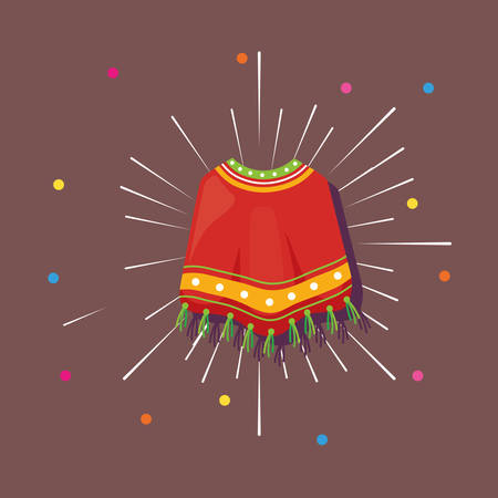 Mexican poncho icon and colorful dots around over brown background, vector illustration