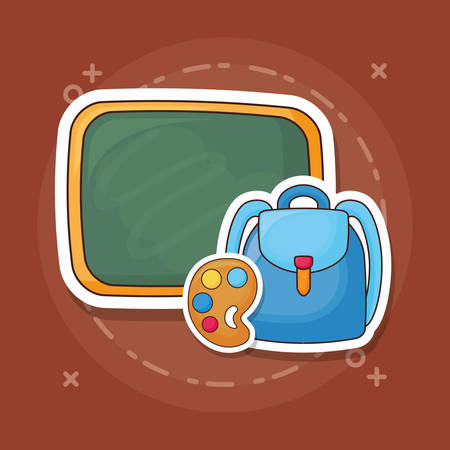 Chalkboard with backpack and paint palette over brown background, colorful design. vector illustration