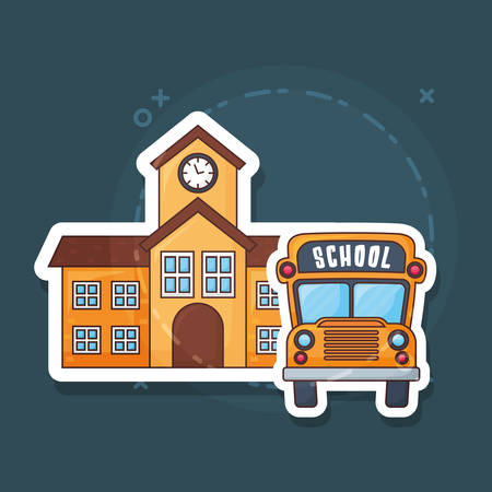 School building and school bus over blue background, colorful design. vector illustration