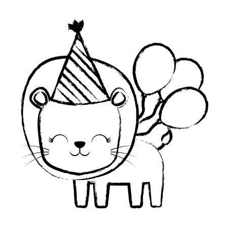 happy birthday design with cute lion with birthday hat and balloons over white background, vector illustration