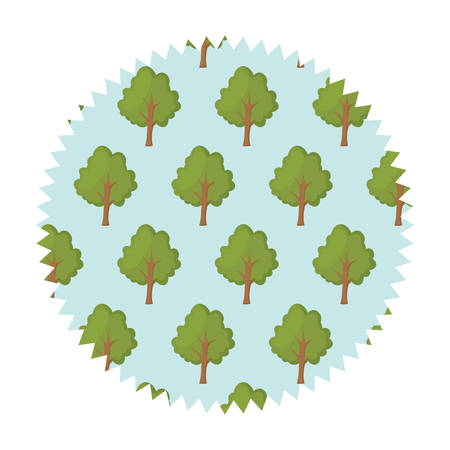 colorful seal stamp with trees design over white background, vector illustration