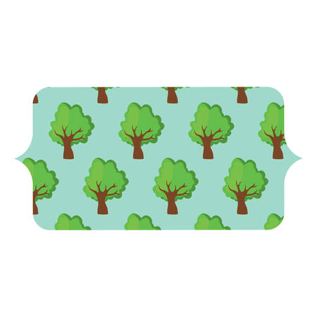 Decorative banner with trees pattern over white background, colorful design vector illustration.