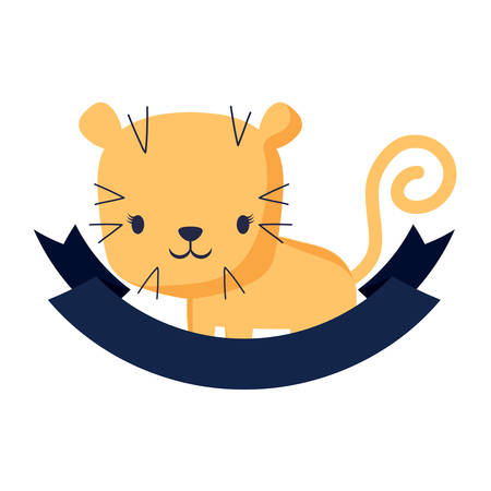 Decorative emblem with cute tiger and ribbon over white background, colorful design vector illustration. Illustration