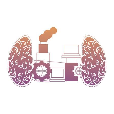 brain machine icon over white background, colorful design. vector illustration