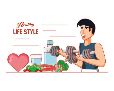 young athlete training sport with healthy lifestyle icons vector illustration design