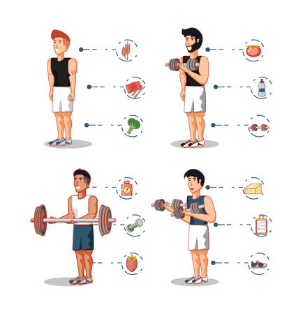 young athletes training sport with healthy lifestyle icons vector illustration design