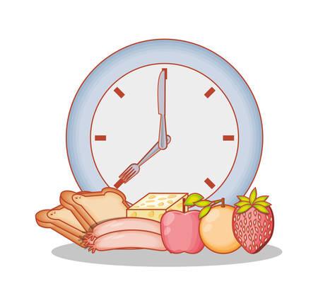 healthy food diet set products vector illustration design Illustration