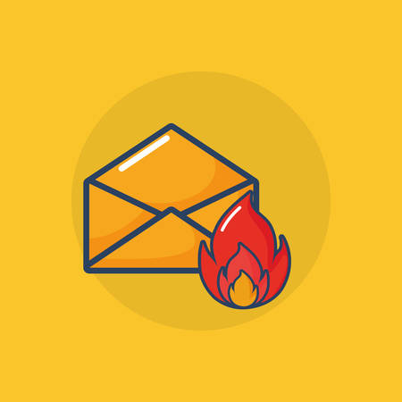 Cyber security design with envelope with fire flame over yellow background, colorful design. Vector illustration