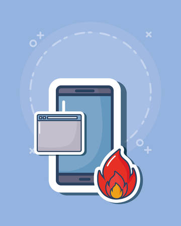 cyber security design with smartphone and web interface and fire flame over blue background, colorful design. vector illustration