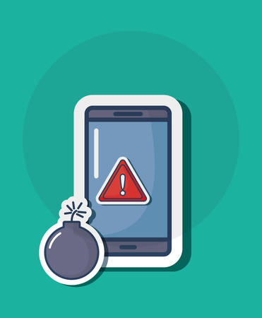 Cyber security design with smartphone and warning sign and warning sign over background, colorful design. Vector illustration