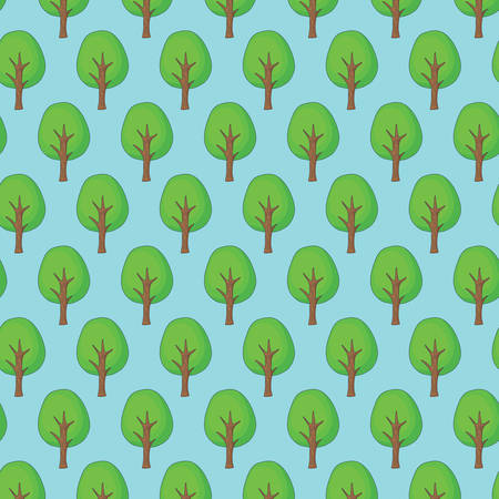 background of trees pattern over white background, colorful design. vector illustration