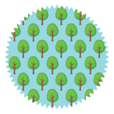 Seal stamp with trees pattern over white background, vector illustration.