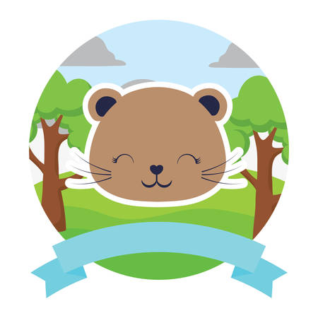 emblem with cute squirrel and decorative ribbon over landscape and white background, colorful design. vector illustration