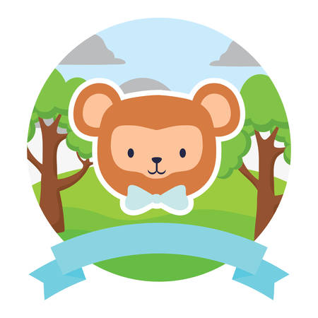 emblem with cute monkey and decorative ribbon over landscape and white background, colorful design. vector illustration Stock Illustratie