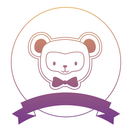emblem with cute monkey and decorative ribbon over white background, vector illustration Illustration
