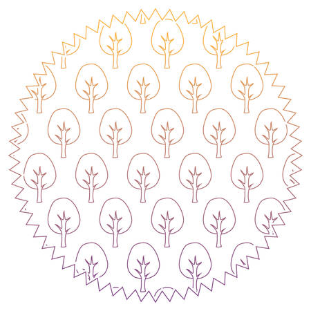 seal stamp with trees pattern over white background, vector illustration Illustration