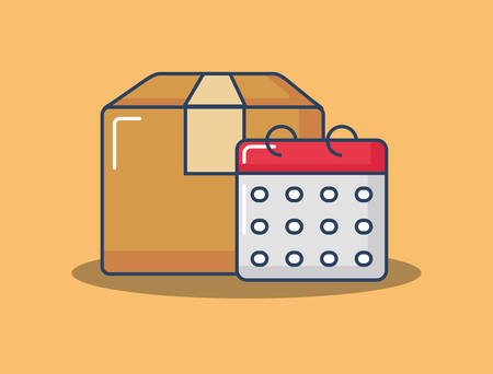 carton box and calendar over orange background, vector illustration Illusztráció