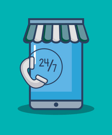 shopping online design with smartphone and symbol over blue background, colorful design. vector illustration