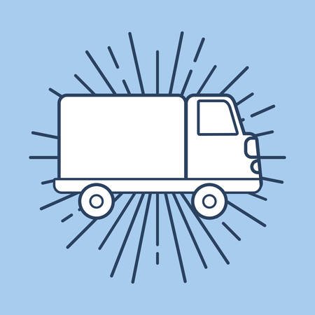 cargo truck icon over blue background, colorful design. vector illustration