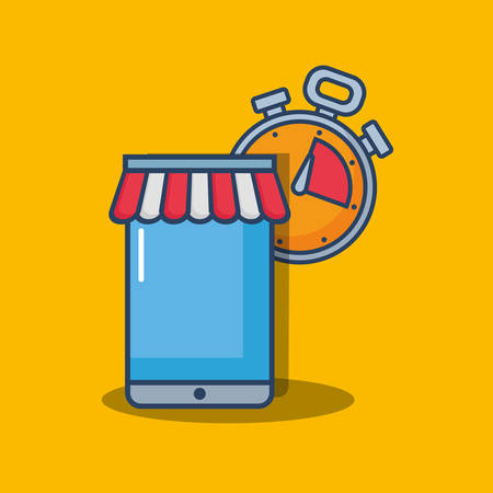 shopping online design with smartphone and chronometer over yellow background, colorful design. vector illustration