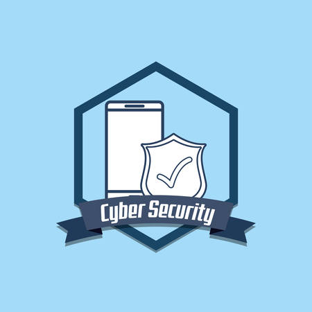 emblem of cyber security concept with smartphone and shield over blue background, colorful design. vector illustration