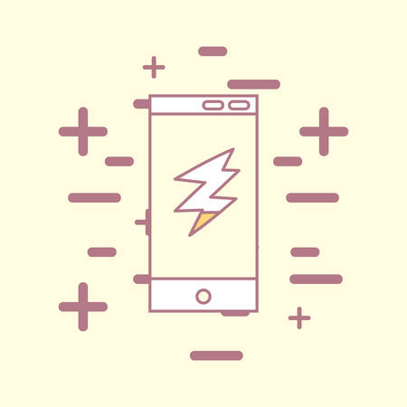 smartphone with thunder icon over yellow background, colorful design. vector illustration