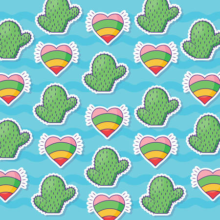 Pattern of hearts and cactus, colorful design. Illustration