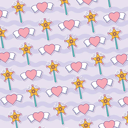 background with magic wand and hearts pattern,  colorful design. vector illustration