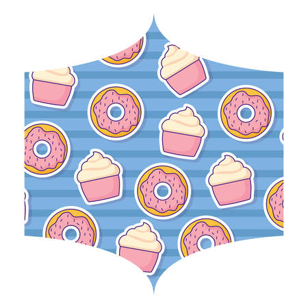 decorative frame with donuts pattern over white background, colorful design. vector illustration