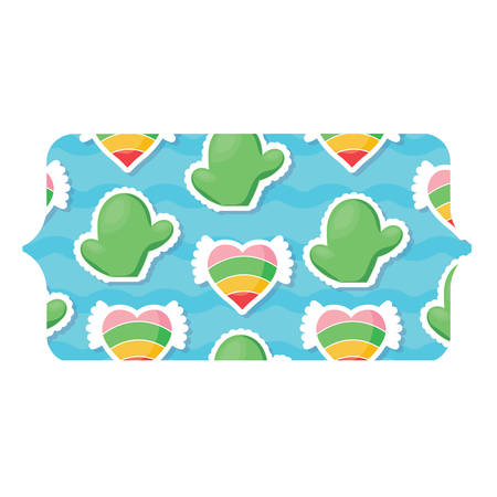 banner with cactus and hearts pattern over white background, colorful design.  vector illustration