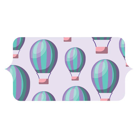 banner with hot air balloons pattern over white background, colorful design. vector illustration