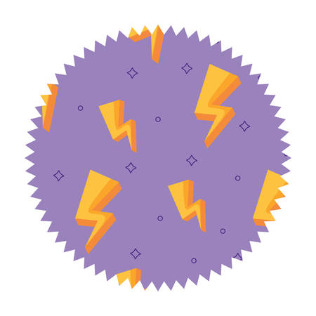 seal stamp with lightning pattern over white background, colorful design. vector illustration Ilustração