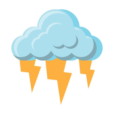 clud with lightnings icon over white background, vector illustration
