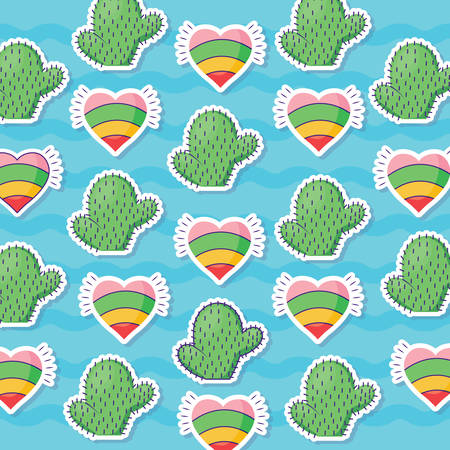 pattern of hearts and cactus, colorful design. vector illustration