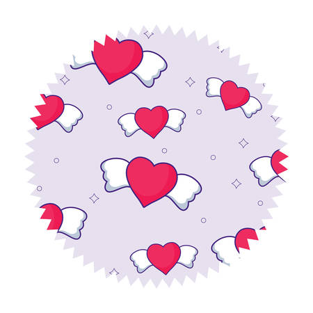 Seal stamp with heart with wings pattern over white background, vector illustration Illustration