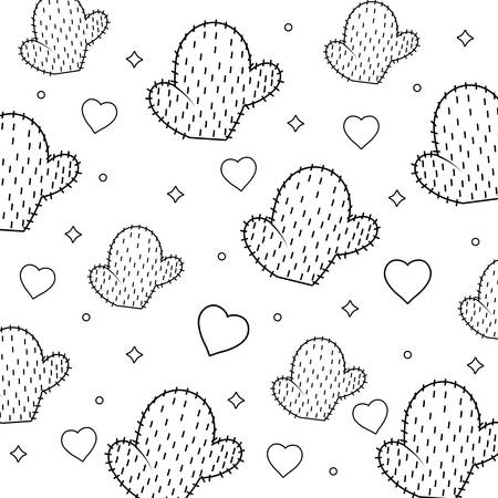 pattern of hearts and cactus, vector illustration