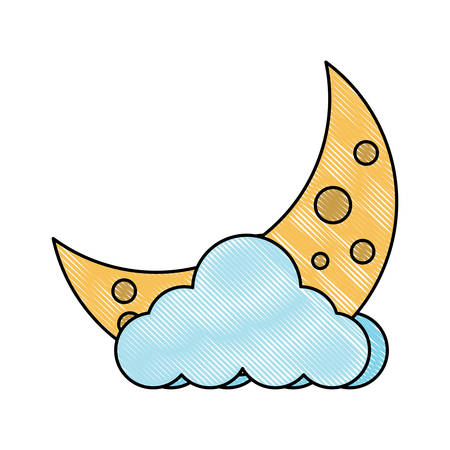 cloud and moon icon over white background, vector illustration Vectores