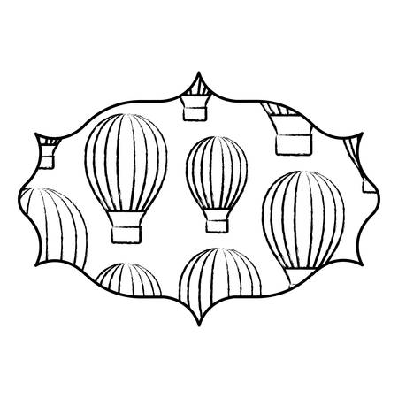 arabic frame with hot air balloons pattern over white background, vector illustration