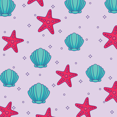 Background of Seashells and Sea Stars pattern, colorful design. Vector illustration