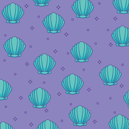 Background of seashells pattern, colorful design. Vector illustration Illustration