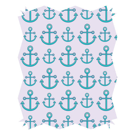 Abstract frame with anchors pattern over white background, vector illustration Ilustrace