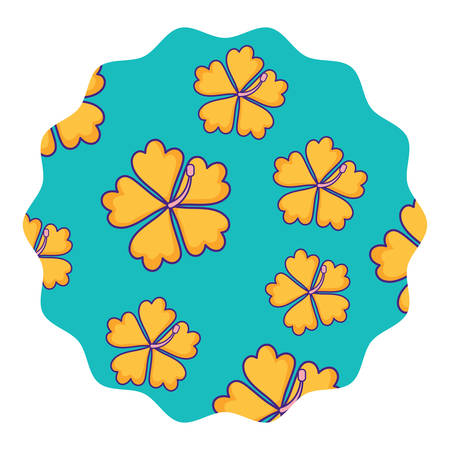 Decorative circular frame with tropical flowers pattern over white background, colorful design. Vector illustration
