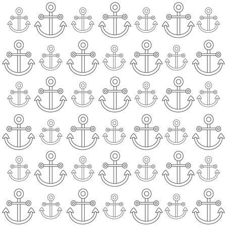 background of anchors pattern, vector illustration Illustration