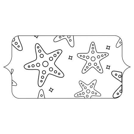 arabic frame with seastars pattern over white background, vector illustration